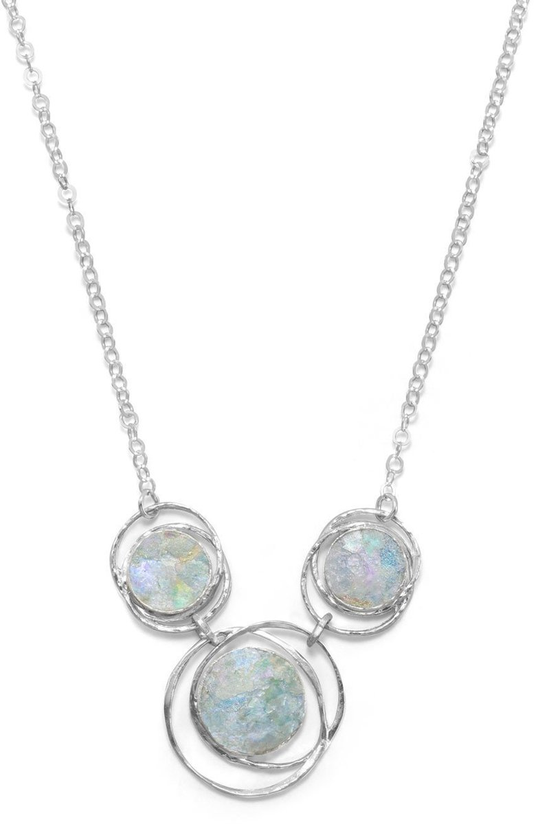 "17"" Abstract Circle Roman Glass Necklace 925 Sterling Silver"