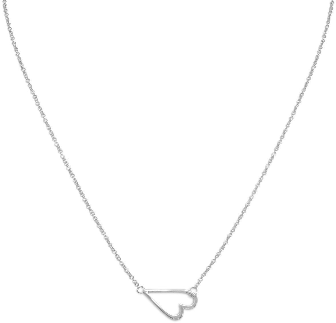 "16"" + 2"" Rhodium Plated Sideways Heart Necklace 925 Sterling Silver"