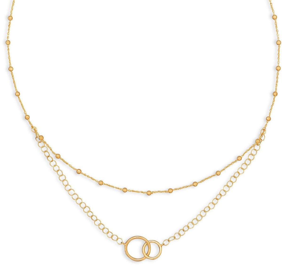 "16"" 14 Karat Gold Plated Multistrand Beaded Necklace with Circle Link 925 Sterling Silver"