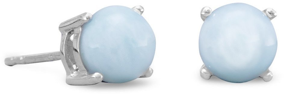Rhodium Plated Larimar Stud Earrings 925 Sterling Silver