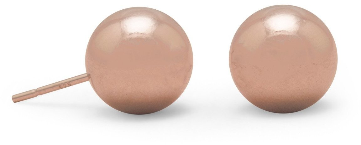 14 Karat Rose Gold Plated 10mm Ball Stud Earrings 925 Sterling Silver