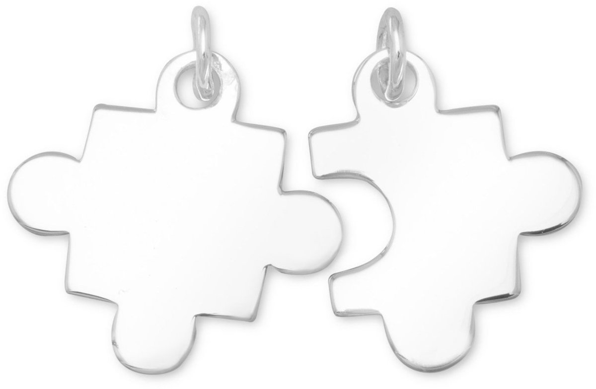 Rhodium Plated Puzzle Piece Charms 925 Sterling Silver
