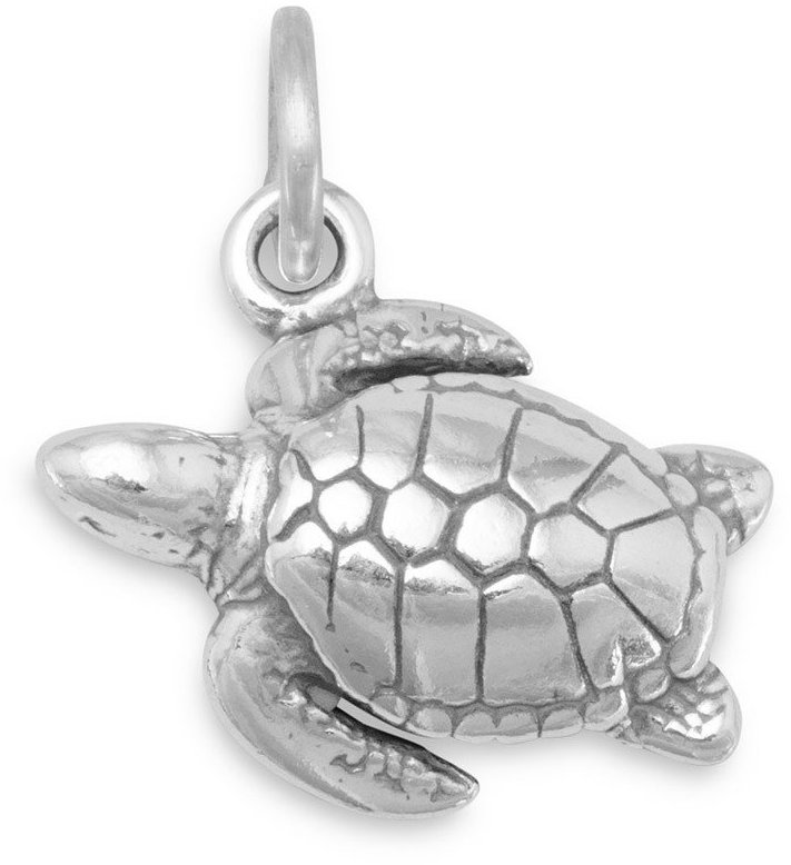 Oxidized Sea Turtle Charm 925 Sterling Silver