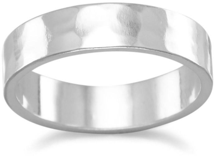 Hammered 5mm Band 925 Sterling Silver