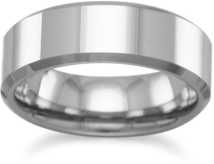 "Tungsten Carbide 6mm (1/4"") Mens Ring with Beveled Edge"