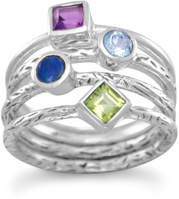 4 Band Multistone Ring 925 Sterling Silver