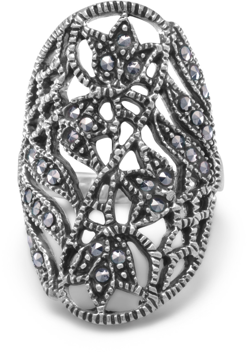 Marcasite Ring with Cut Out Leaf Design 925 Sterling Silver - CLEARANCE