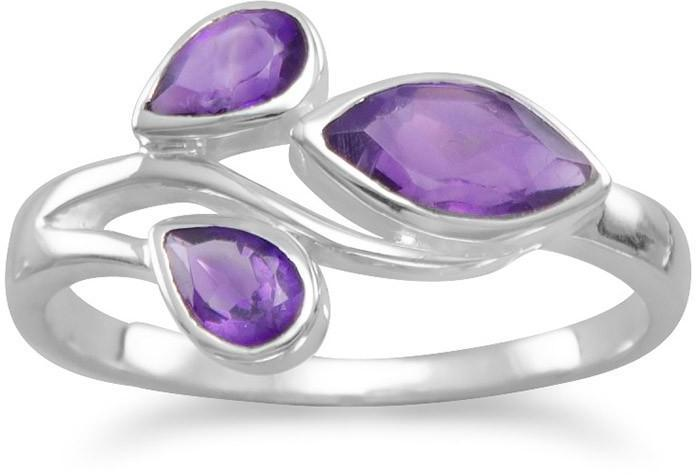 Pear and Marquise Amethyst Ring 925 Sterling Silver