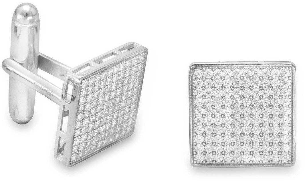 Rhodium Plated Pave CZ Cuff Links 925 Sterling Silver