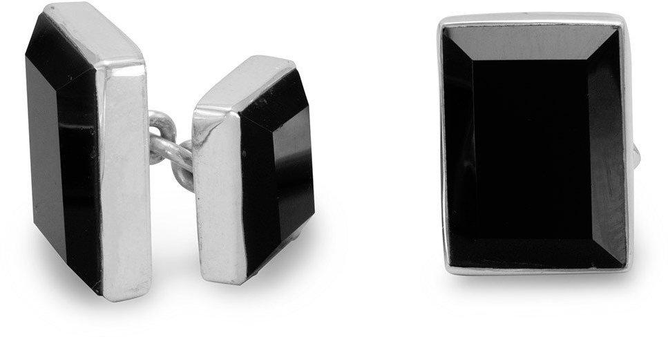 Black Onyx Cuff Links 925 Sterling Silver - LIMITED STOCK