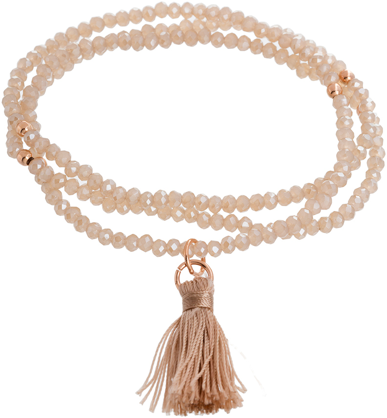 Rose Gold Plated Sterling Silver Tan Crystal Stretch Tassel Bracelt