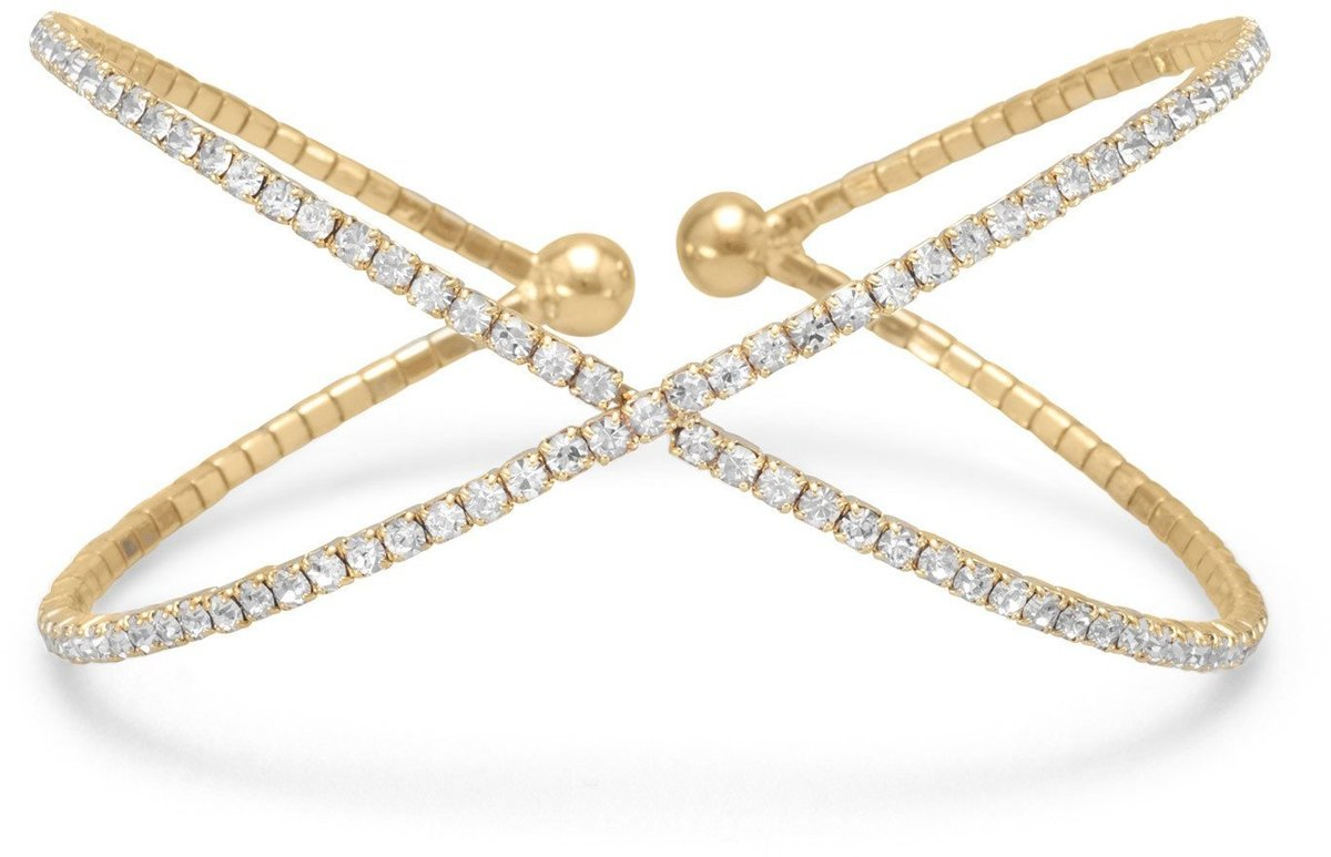 "Gold Tone Criss Cross ""X"" Synthetic Crystal Fashion Memory Bracelet"