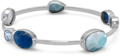 Multistone Stackable Bangle 925 Sterling Silver - LIMITED STOCK