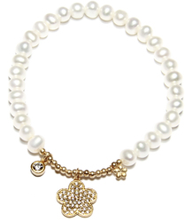 Gold Plated Sterling Silver Cultured Freshwater Pearl CZ Flower Stretch Bracelet