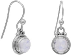 Round Moonstone Polished Edge Earrings 925 Sterling Silver