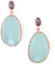 14 Karat Rose Gold Plated Chalcedony Drop Earrings 925 Sterling Silver