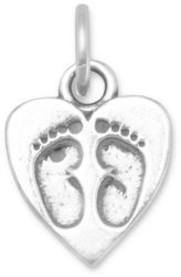 Heart Charm with Baby Footprints 925 Sterling Silver
