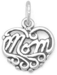 Mom Heart Charm 925 Sterling Silver