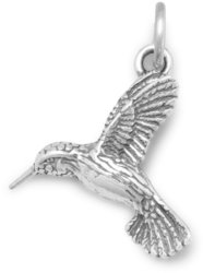 Oxidized Hummingbird Charm 925 Sterling Silver
