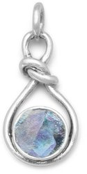 Roman Glass Knot Style Pendant 925 Sterling Silver