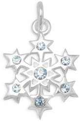 Small Blue Crystal Snowflake Charm 925 Sterling Silver