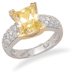 Rhodium Plated Sterling Silver 14K Gold Plate Ring with Yellow Rectangle CZ