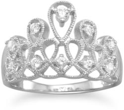 Rhodium Plated Tiara Design CZ Ring 925 Sterling Silver