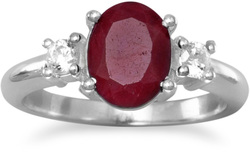 Rough-Cut Ruby and CZ Ring 925 Sterling Silver