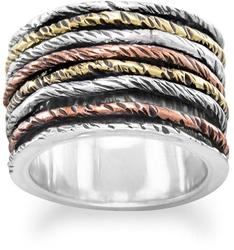 Oxidized Ring with Tri Tone Bands 925 Sterling Silver