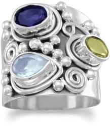 Ornate Multistone Ring 925 Sterling Silver (82960-bt)