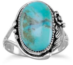 Oval Turquoise Ring 925 Sterling Silver