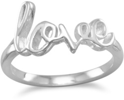 Polished Script love Ring 925 Sterling Silver