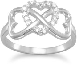 Rhodium Plated CZ Heart Infinity Ring 925 Sterling Silver