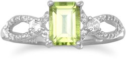 Rhodium Plated Peridot and White Topaz Ring 925 Sterling Silver