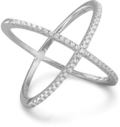 Rhodium Plated Criss Cross X Ring with Signity CZs 925 Sterling Silver