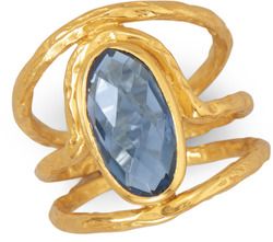 Beautiful 14 Karat Gold Plated Ring with Blue Hydro Quartz - CLEARANCE