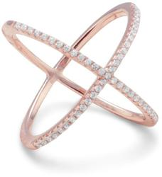 18 Karat Rose Gold Plated Criss Cross X Ring with Signity CZs