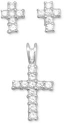 CZ Cross Earrings/Pendant Set 925 Sterling Silver