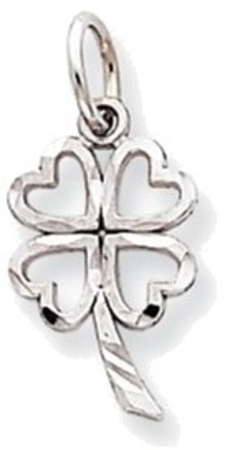 10K White Gold Cutout 4-Leaf Clover Charm