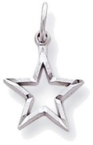 10K White Gold Shiny-Cut Star Charm