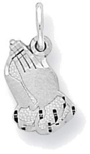10K White Gold Praying Hands Charm