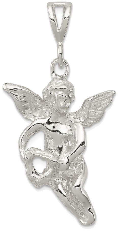 Sterling Silver Polished & Textured Flying Angel w/ Heart Pendant