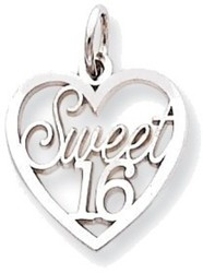 10K White Gold Sweet 16 In Heart Charm