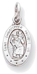 10K White Gold St. Christopher Medal Charm 10WC41