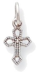 10K White Gold Passion Cross Charm