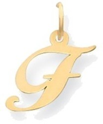 14K Yellow Gold Small Fancy Script Initial F Charm
