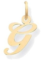 14K Yellow Gold Small Fancy Script Initial G Charm