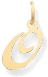 14K Yellow Gold Small Fancy Script Initial O Charm