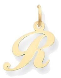 14K Yellow Gold Small Fancy Script Initial R Charm