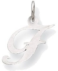 14K White Gold Small Fancy Script Initial F Charm